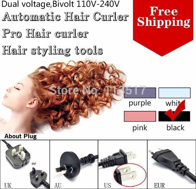 Free Shipping 2014 Professional styling tools Automatic Curls Perfect hair roller Magic Hair Curlers Blue Color Dual Voltage(China (Mainland))