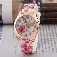 New 2014 Fashion Silicone Printed Flower Geneva brand Watch For Ladies Women Dress Watch Quartz Watches