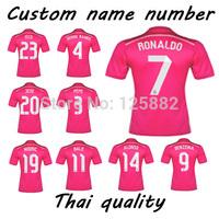 14-15 Season Real Madrid away, 7# Ronaldo thai quality soccer Jersey,football shirt,14-15 real madrid pink jersey