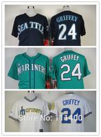 Free shipping Mens Baseball Jersey Seattle Mariners 24 Ken Griffey Green White Dark blue Embroidery logos Size:48-56 mix order