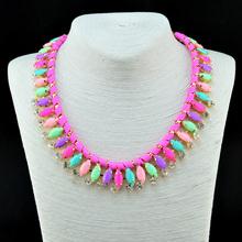 Charm Fashion 2014 Rope Chain Woven Acrylic and Rhinestone Necklaces & Pendants Rhinestone  Flower Jewelry Statement Necklace(China (Mainland))