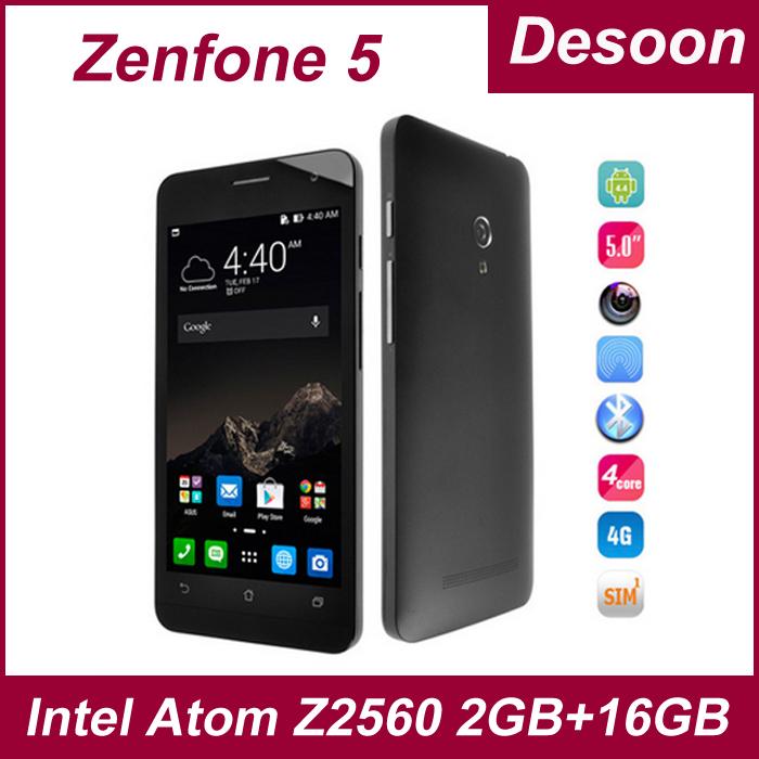 In stock 4G FDD LTE Original ZenFone 5 2G+8G/2G+16G Intel Atom Z2560 2.0GHZ 2 cores 4 threads Cell phones Free shipping/ Koccis(China (Mainland))
