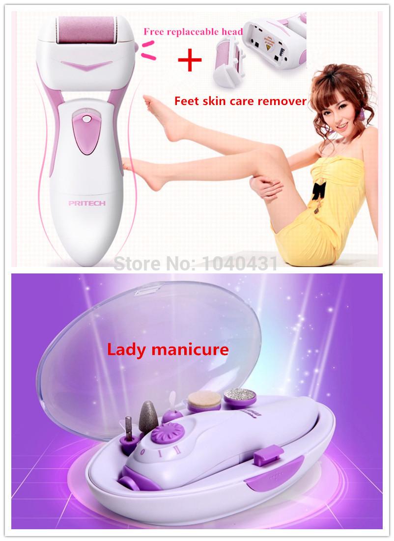 Boa promoção gifts1pc pés cuidados removedor de pele + 1 pc da senhora elétrica manicure nail care ferramenta prego moedor de polimento(China (Mainland))