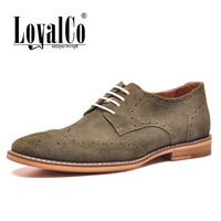 New 2014 Men's Flats Solid Cut-outs Green Brogue Style Casual Shoes Suede Genuine Leather Shoes Rubber Sole LoyalCo EUR 40-44