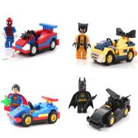 Classic Education toys SuperHero Series Chariot superhero Superman Spiderman puzzle Souptoy 4 piece/lot Block Compatible Lego