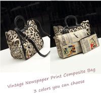 3 In 1 Newspaper Style Totem Hollow Out Women Composite Bag Vintage Shoulder Tote Handbag