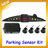 PZ301 LED Digital electromagnetic Car Parking Sensor Backup Reverse Radar System with 4 Sensors Multi-Colors,FreeShipping