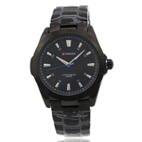 2014 Curren 8109 Wrist Mens Watch with Waterproof Strips Indicate Time White Dial- Silver / Black Relogio