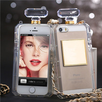 2014 Hot Luxury Brand Perfume Bottle Leather Lanyard Chain TPU Case For iphone 5 5s 4 4s Handbag Style TPU Case Free Shipping