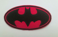 Shining magenta Batman Iron On patches  Embroidered Superhero  Patch DIY accessory for cloth wholesale 100pcs/lot Free shipping