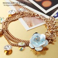 Neoglory Austria Rhinestone Gold Plated Flower Fashion Bracelets & Bangles for Women 2014 Brand New Gift Arrival Enamel Paint