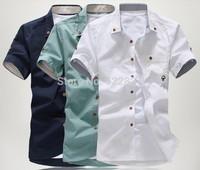 Free shipping 2014 polo new style Men's Fashion casual Short Sleeve Shirts high quality Summar Slim Shirts 4 Color M-XXXL