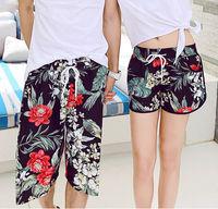 Free Shipping ! 2015 Men Women Beach Swimwear Flower Plaid Stripe Star Lovers Couple Swimming Sport Wear Beach Shorts 186-0002