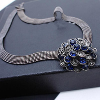 HOT Selling Female Jewelry Vintage Multilayer Big Flower Link Chain Straps Crystal Charms Statement Pendants & Necklaces