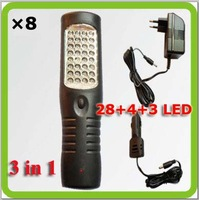 Wholesales DHL 3 in 1 multifunctional rechargeable led work lamp trabajo lampara for emergency garage camp car used CE.ROHS.