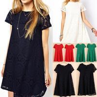 2014 European New Style Women's Round Neck Lace Hollow out  Dress Short Sleeve  A-line dress 4 colors Size S-M-L-XL 35E3018#S5