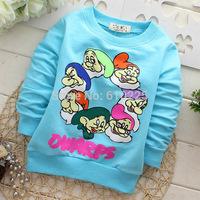 New 2014 Children T-shirts Character Seven Dwarfs Boys' T-shirt Baby Girls Long Sleeve Tees Kids Fall Clothes Child Clothing