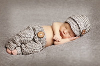 free shipping,Gray newsboy modelling Hat And  Pants baby Set Newborn handmade crochet Photography Prop,100% cotton