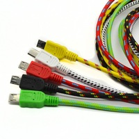 High quality 1m braided nylon mesh USB2.0 micro USB data charger sync cable for samsung/HTC 5000pcs/lot  free shipping