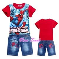 2-7Y SPIDER MAN CHILDREN CLOTHING SETS(T-SHIRT+JEANS SHORTS) - VPG04-8001R+407