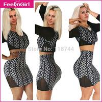 2014 Women 2 Piece Bandage Dresses Sexy Fashion Bodycon Evening Sets Girls Full Sleeve Geometric Club Dresses Vestidos