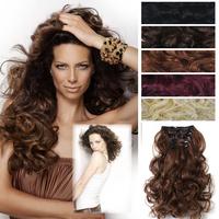 7pcs/set Japan High Temperature Silk Hair Extensions Clip In Hair Extensions Curly  Woman Hairpiece 50cm 20inch Free Shipping