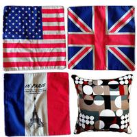 Linen Car Home Accesorries Cushion Covers Pillow Cases Pillow cover 47x47cm 2pcs/lot&Eifel Tower&England british flag