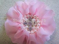 Headband Chiffon Flower 12 colors shiny Pearl Rhinestone Chiffon Flowers Ruffled Chiffon Flower With Clip 30pcs/lot
