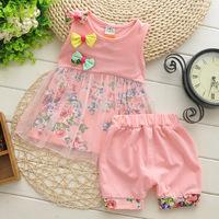 New 2014 Flower Baby Girls' Vest and Shorts Clothing Sets Yarn Tees Children 2 pcs Sets Girls' Clothing Set