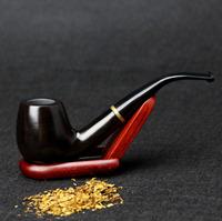 10 Tools Gift Set Smoking Pipe 15cm Ebony Wood Smoking Pipe 9mm Filter Rough Surface Black Smoking Pipe Set