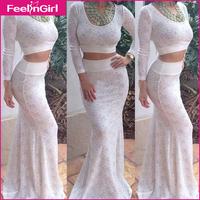 2014 Women Long-sleeved Vestidos 3XL Casual White Lace Dress O-Neck Maxi Long Dress Floor-Length White Dress 10