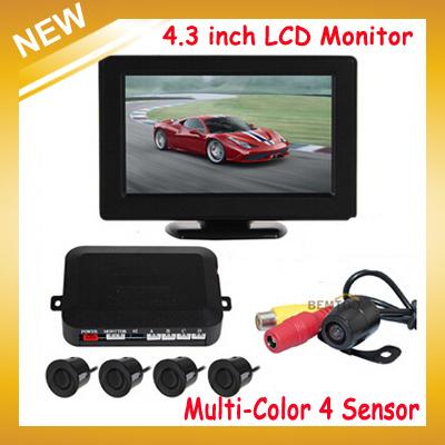 Auto Car Parking Sensor 4.3 Inch Digital TFT LCD Car Monitor + 4 x Backup Sensors + 1 x Rearview Reverse Camera,Free Shipping(China (Mainland))