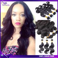 5A Ali moda hair Malaysian Virgin Hair 3/4pcs lot Unprocessed Malaysian Body Wave Human Hair Free Shipping Natural Color 1b