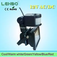 3PCS/LOT AC/ DC 12V 10W PIR LED Flood light White Warm white red green blue yellow Floodlight Motion Sensor lamps AC/DC12V LW41
