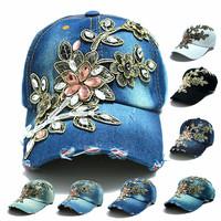 wholesale 2014 fall fashion Denim Baseball  cap  Sports Hat cap canvas Snapback caps hat for women good quality