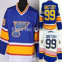 Free Shipping cheap  #99 Wayne Gretzky Jersey CCM Blue Color Stitched men Hockey Jerseys Mix Order