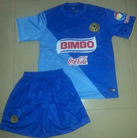 new arrival mexico soccer jersey club america  third blue soccer uniform jersey and shorts full set with fast and free shipping