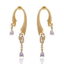 2014 Fashion Bohemia C Shape Earrings Women Water Drop Dangle Earring Luxury 288pcs White Cubic Zirconia Marriage Jewelry HY1055
