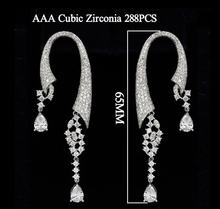 2014 Fashion Bohemia C Shape Earrings Women Water Drop Dangle Earring Luxury 288pcs White Cubic Zirconia
