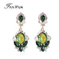 Luxury Rhinestone Green Simulated Gemstone Drop Earrings New 2014 Summer Fashion Designer Brincos For Women