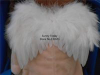 Hot Handmade Small White Feather Angel's Wings For New Born Baby Cosplay & Photography Props Party Decoration 14 *11 CM