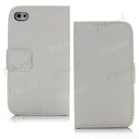 Flip Stand Case Cover Pouch Protector Skin PU Leather for iPhone 4G 4S White