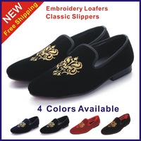 Size 38-45 New 2014 Fashion Men's Flats Vintage Men Loafers Classic Velvet Embroidery Shoes Man Slippers Brand Black Party Shoes