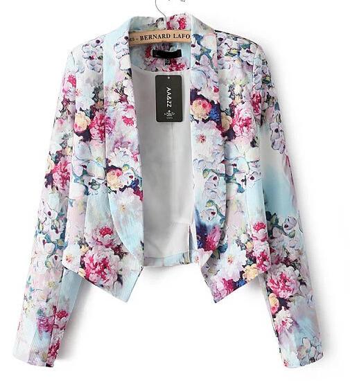 Ct601 neue mode damen elegant blumendruck blazer büro dame outwear