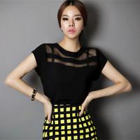 Atacado Roupas Femininas 2014 Female Casual Blouse XXL Plus Size Short Sleeve Black White Chiffon Women Shirt 1170