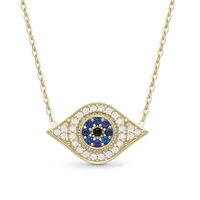 New Arrival Fashion Jewelry Black And White CZ Crystal Evil Eye Pendant Gold Thin Chain Hamsa Hand Mascot Pendant Necklace