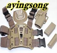 G17 tactical puttee thigh belt drop Leg holster pouch Tan Pistol