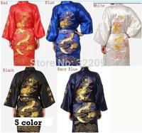Free Shipping 2014 Red Chinese men's Satin Polyester Embroidery Robe Kimono Nightgown Dragon Sleepwear M L XL XXL S0010