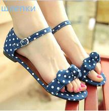 Big Size 34-43 Sweet Polka Dot Bow shoes Transpierce Gentlewomen Brief Hasp flat-bottomed Female Sandals 2014 Summer New flat(China (Mainland))