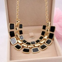 Black Enamel Geometric Alloy Gold Party Chain Collar Choker Statement Necklaces & Pendants Fashion Jewelry Women Wholesale N114
